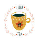 Hand drawn card with cup of tea and stylish lettering -`I love tea`. Scandinavian style vector illustration. Royalty Free Stock Images