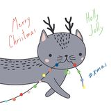 Cute Christmas cats greeting card royalty free illustration