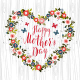 Hand drawn card design with hand lettered Happy Mother's Day tex Royalty Free Stock Images