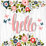Hand drawn card design with hand lettered Hello text. Vector. Royalty Free Stock Photo