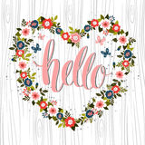 Hand drawn card design with hand lettered Hello text 1. Vector. Royalty Free Stock Images