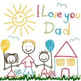 Hand Drawn card for Fathers Day Royalty Free Stock Photos