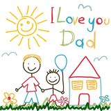 Hand Drawn card for Fathers Day Stock Photos