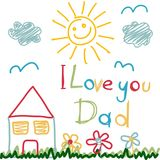 Hand Drawn card for Fathers Day Royalty Free Stock Photo