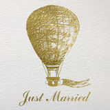 Hand drawn card with gold foil air balloon for newlyweds and wed Stock Photos