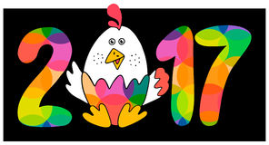 Hand drawn card. 2017 - I`m here!New Year`s design of card. Fun handmade vector illustration of numbers & rooster.Symbol of 2017 on the Chinese calendar. Image Stock Photography