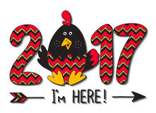 Hand drawn card. 2017 - I`m here!New Year`s design of card. Fun handmade vector illustration of numbers & rooster.Symbol of 2017 on the Chinese calendar. Image Royalty Free Stock Image