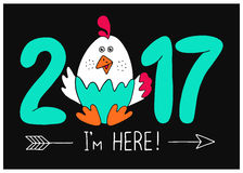 Hand drawn card. 2017 - I`m here!New Year`s design of card. Fun handmade vector illustration of numbers & rooster.Symbol of 2017 on the Chinese calendar. Image Stock Photo