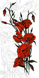 Hand drawn card with red eustoma flowers Royalty Free Stock Images