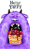 Hand drawn card. Watercolor head of a monster with cake in the mouth. Celebration illustration. Cartoon horror party Stock Photography