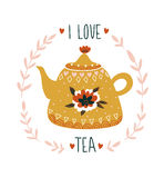 Hand Drawn Card With Teapot And Stylish Lettering -`I Love Tea`. Vector Print Design. Royalty Free Stock Images