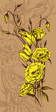 Hand drawn card with yellow eustoma flowers Royalty Free Stock Photography