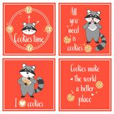 Funny food posters. Hand drawn cards with raccoons, cookies and original typography. Funny food posters Royalty Free Stock Photos