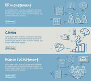 Hand Drawn Career Development Horizontal Banners. With human resources search planning and management elements vector illustration Royalty Free Stock Photography