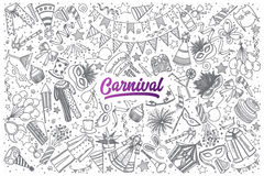 Hand drawn Carnival doodle set with lettering Royalty Free Stock Photo
