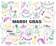 Carnival doodle set. Hand drawn carnival objects set isolated on white background. Masqeurade design elements collection in line art style. Doodle carnival masks Royalty Free Stock Photography