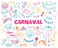 Carnival doodle set. Hand drawn carnival objects set isolated on white background. Masqeurade design elements collection in line art style. Doodle carnival masks Stock Images