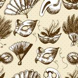 Hand Drawn Carnival  Seamless Background Stock Images
