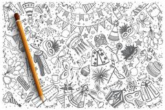 Hand drawn Carnival vector doodle set. Background Stock Photography