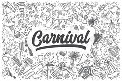 Hand drawn carnival vector doodle set. Hand drawn carnival doodle set. Lettering - Carnival Royalty Free Stock Photos