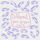 Hand-drawn cars icons Stock Image