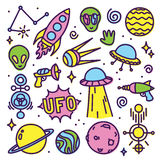 Hand drawn cartoon Alien space vector set Stock Images