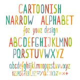 Hand Drawn Cartoon Alphabet Letters. Written colorful cartoonish ABC. Vector illustration EPS8 Royalty Free Stock Image
