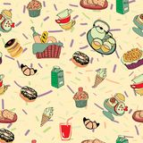 Hand-drawn cartoon background with food and drinks elements, br. Pattern with funny cartoon food. Hand-drawn cartoon background with food and drinks elements Stock Photography