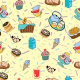 Hand-drawn cartoon background with food and drinks elements, bre Stock Images