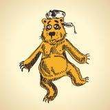 Hand drawn cartoon bear. funny drunk Royalty Free Stock Photo