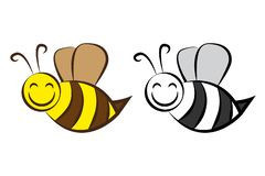 Hand drawn cartoon bee in different colors. Isolated comic vector bee. vector illustration