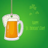 Hand drawn cartoon beer mug card on the rope Royalty Free Stock Images