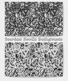 Hand drawn cartoon black and white doodle seamless pattern. Royalty Free Stock Image
