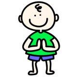 Hand-drawn cartoon boy pay respect Stock Photography