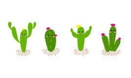 Hand drawn cartoon cactus set with flowers. Cactus collections f stock illustration
