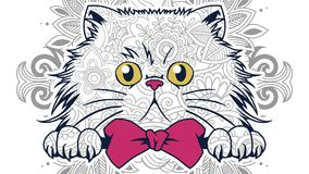 Hand drawn cartoon cat doodle for adult coloring page. Hand drawn cat doodle for adult stress release coloring page Royalty Free Stock Image