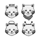 Hand drawn cartoon cat head prints set. Vector vintage illustration. Stock Photography