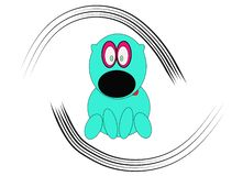 Hand-drawn cartoon dog performed in turquoise blue with a red tongue and lines on the sides royalty free illustration