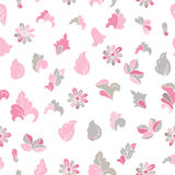 Hand drawn cartoon doodle flowers. Camomiles and buds. Seamless floral pattern. Fashion style for prints, batik and silk textile, Stock Photo