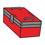 Hand drawn cartoon doodle of a metal tool box. A creative cartoon doodle of a metal tool box stock illustration