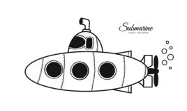 Hand drawn cartoon doodle submarine on white background. Sketch line design. Vector illustration: Hand drawn cartoon doodle submarine on white background. Sketch stock illustration