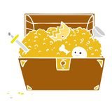 Hand drawn cartoon doodle of a treasure chest. A creative cartoon doodle of a treasure chest stock illustration