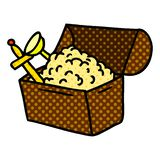 Hand drawn cartoon doodle of a treasure chest. Illustrated hand drawn cartoon doodle of a treasure chest vector illustration