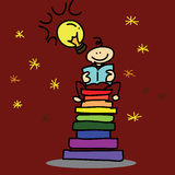 Hand-drawn cartoon dream boy reading book Royalty Free Stock Photo