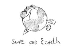 Hand drawn cartoon earth. On white background Royalty Free Stock Image