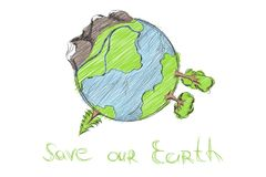 Hand drawn cartoon earth. On white background Stock Image