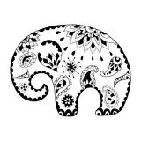 Hand drawn cartoon elephant for adult anti stress colouring page. Pattern for coloring book. Made by trace from sketch. Illustration in zentangle style stock illustration