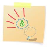Hand drawn cartoon - human hope to money bags Royalty Free Stock Photography