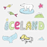 Hand drawn cartoon Iceland set  illustration label in patch style. Embroidery, sticker or pin.  Royalty Free Stock Photos