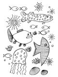 Fish, collection. Hand drawn, , cartoon illustration in simple style Stock Image